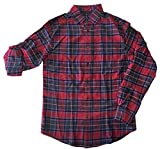 Masked Brand Mossimo Men's Long Sleeve Roll Tab Button Down Shirt (Red Plaid, Medium Tall)