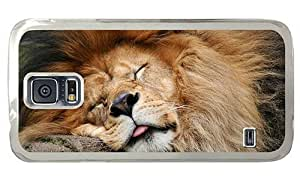 Hipster durable Samsung Galaxy S5 Case Sleeping Male Lion PC Transparent for Samsung S5
