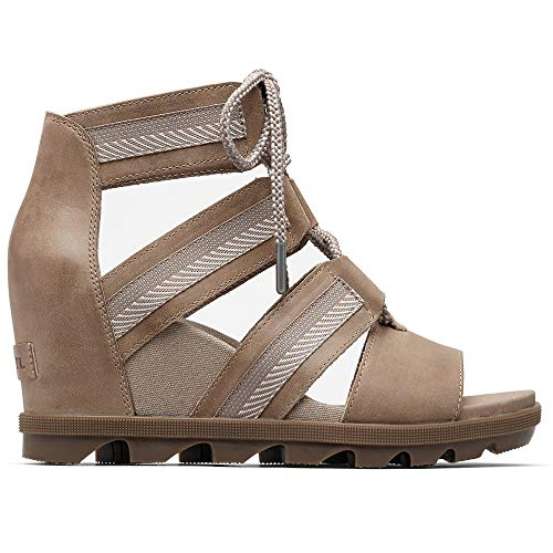 Sorel - Women's Joanie II Lace, Leather or Suede Sandal with Wedge Heel, Ash Brown, 8 M US