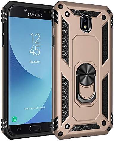 BestST Funda para Samsung Galaxy J7 2017/J730, con Anillo Soporte, Antigolpes Rígida Robusta Carcasa Resistente al Impacto Militar Duradera Blindada Fuerte de Seguridad con HD Protector Pantalla,-Oro