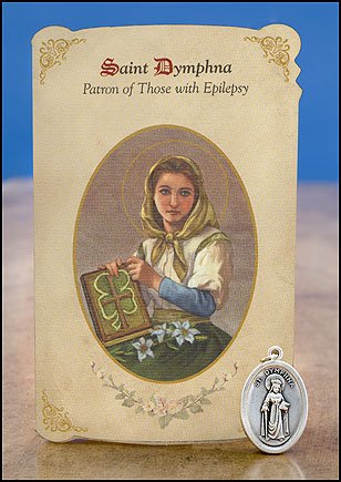 (Blessed By Pope Benedict XVI Saint Dymphna Patron of Those with Epilepsy Prayer Card and Medal)