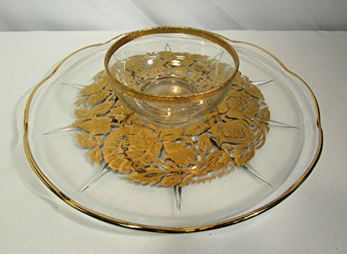 Georges Briard Chip & Vegetable Relish Dip Condiment Plate Dish Gold Trim (Relish Dip)