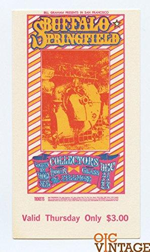 Bill Graham Ticket 98 Buffalo Springfield Collectors Hour Glass 1967 Dec 21