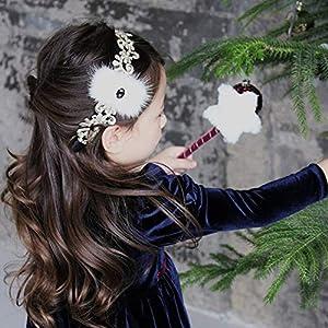 5Pcs Boutique Fur Hair Bow Hairbands Hair Sticks Fashion Solid Gemstone Bowknot Headbands Princess Headwear Hair…