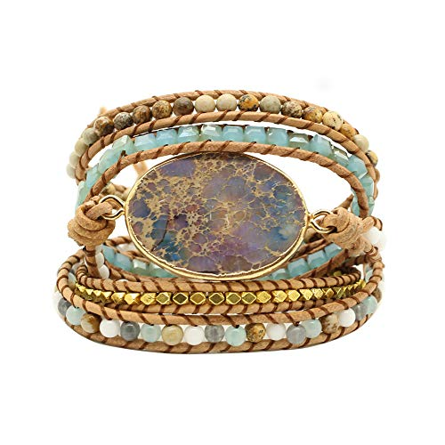 Bonnie Gold Plated Wrap Natural Stones Leather Wrap Around Stone Bracelet 5 Layer Natural Jasper Crystal Beaded Leather Bohemian Tribal Bracelet (Purple Imperial Jasper)