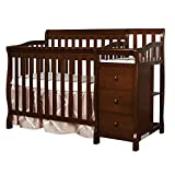 Espresso Crib with Attached Changing Table Dream On Me Jayden 4 in 1 Convertible Portable MiniCrib with Changer, Espresso