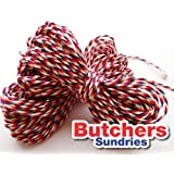 Butchers Sundries 10 Metres of RAYON Red, White & Blue Craft - Bakers - Butchers - String - Twine / Christmas Wrapping Twine