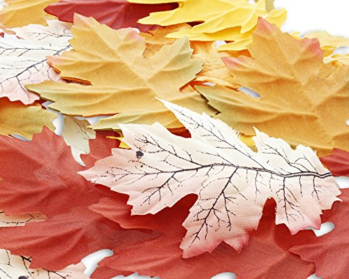 50-Pack Artificial Autumn Maple Leaves - Wedding and Party Decorations, Multicolored