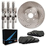 Front + Rear Premium Cross Drilled Rotors and Carbon Metallic Pads Brake Kit TA064923 | Fits: 2004 04 Chevy S10 2WD/4WD Models