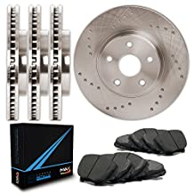 Front + Rear Premium Cross Drilled Rotors and Carbon Metallic Pads Brake Kit TA053623   Fits: 2012 12 Dodge Grand Caravan w/302mm Front Rotor and Single Piston Front Calipers To 3/23/2012