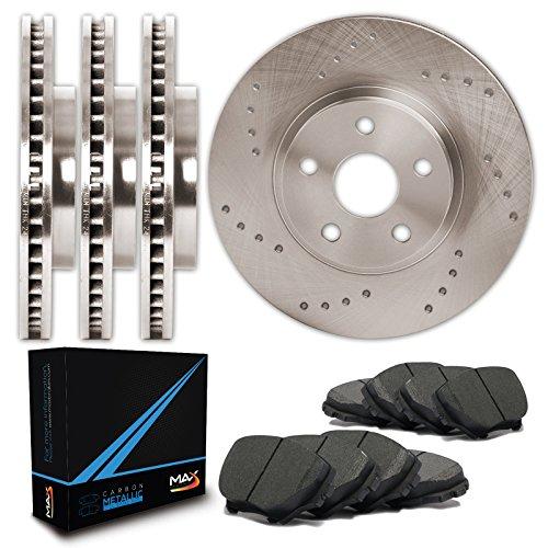Front + Rear Premium Cross Drilled Rotors and Carbon Metallic Pads Brake Kit TA040423 | Fits: 2006 06 2007 07 2008 08 Lexus IS250