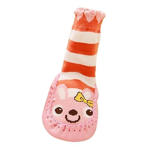 hibote Baby Anti Skid Calcetines Zapatos Niños Muchachas Cute Cartoon Toddler Antideslizante Calcetines Botas Zapatilla Calcetines Rosado 6-18 Meses: ...