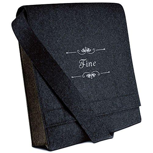 Halfar® Tasche mit Namen Fine bestickt - personalisierte Filz-Umhängetasche mKFrcInln
