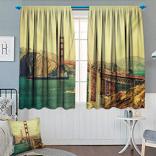 Crown Victoria Gates - Chaneyhouse Vintage Room Darkening Curtains Old Film Featured Golden Gate Bridge Suspension Urban Path Construction Scenery Customized Curtains 55