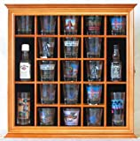 21 Shot Glass Holder Display Case Holder Wall Cabinet with Glass Door, Light OAK Finish (SC01-OA)