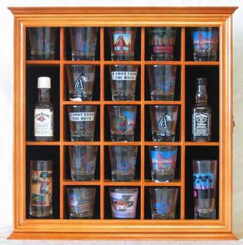 21 Shot Glass Holder Display Case Holder Wall Cabinet with Glass Door, Light OAK Finish (SC01-OA)