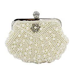 Kingluck Clutches With Pearls For Wedding/Special Occasion (More Colors) (off-white)