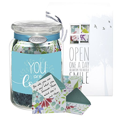 Glass KindNotes SYMPATHY Keepsake Gift Jar of Messages for Condolences, Bereavement, Passing, Loss, Funerals - Fresh Cut Floral You are Loved