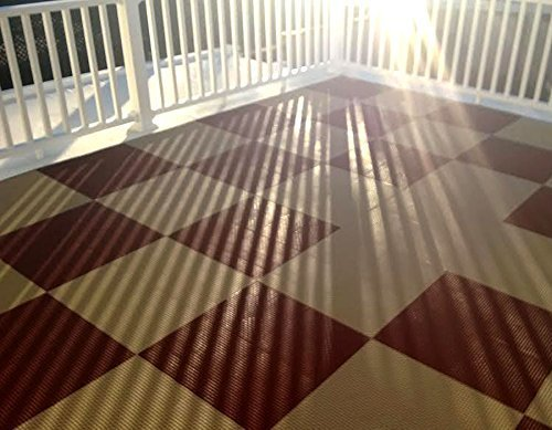 9 Pack Evergreen IncStores Outdoor Patio Interlocking Rugged Grip-Loc Tiles