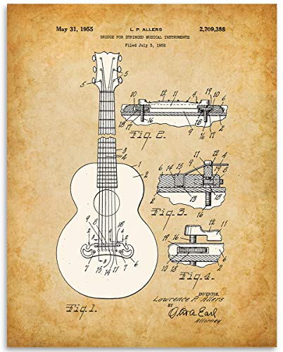 (1952 Gibson Guitar Bridge Patent - 11x14 Unframed Patent Print - Great Gift Under $15 for Guitar Players)
