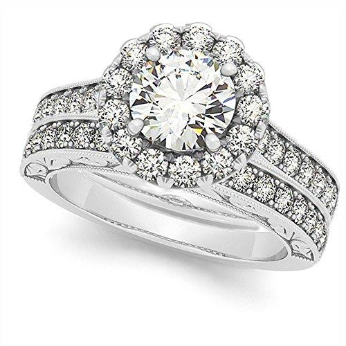 Diamond Halo Bridal Set w/Flower Engagement Ring and Semi-Eternity Wedding Band 14k White Gold 1.33ct ()