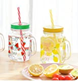 Satyam Kraft (Pack Of 2) Fruit Design Mason Jar(Pack Of 2) Mason Jars With Handle And Straw ,450 Ml