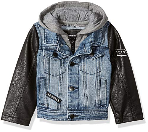 Diesel Boys' Toddler Denim Jacket with Purple Sleeves, Indigo/Black, 2T ()