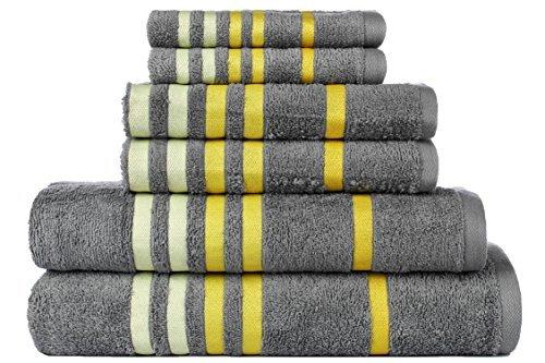 - CASA COPENHAGEN Exotic Cotton 475 GSM 6 Pieces Designer Bath, Hand & Washcloth Towels Gift Set - Wild Dove