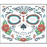 Chezaa Mask Halloween Cosplay Costume 2PCS Day of The Dead Face Mask Dress-Up for Party(1512.5 cm/ 5.914.92 inch) (C)