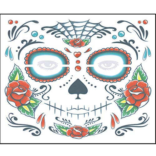 Botrong 2PCS Day of The Dead Dia de Los Muertos Face Mask Sugar Skull Tattoo Beauty (C) ()