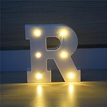 Plastic ABS White Letter LED Light Alphabet Night Lamp for Party Wedding Decor Wall Night Light Letter A (Light R)
