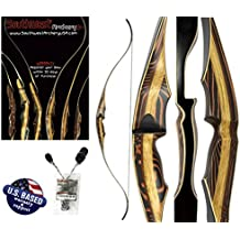 """Tigershark One Piece Recurve Bow and Arrow Set – 60"""" Recurve Hunting Bow – Right & Left Hand – Draw Weights in 25-60 lbs – USA Based Company – Perfect for Beginner to Intermediate – 1 Year Warranty"""