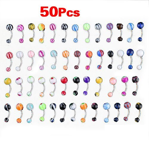 50 MIX Assorted Ball Belly Navel Barbell Bars Rings Body Piercing NaiCasy