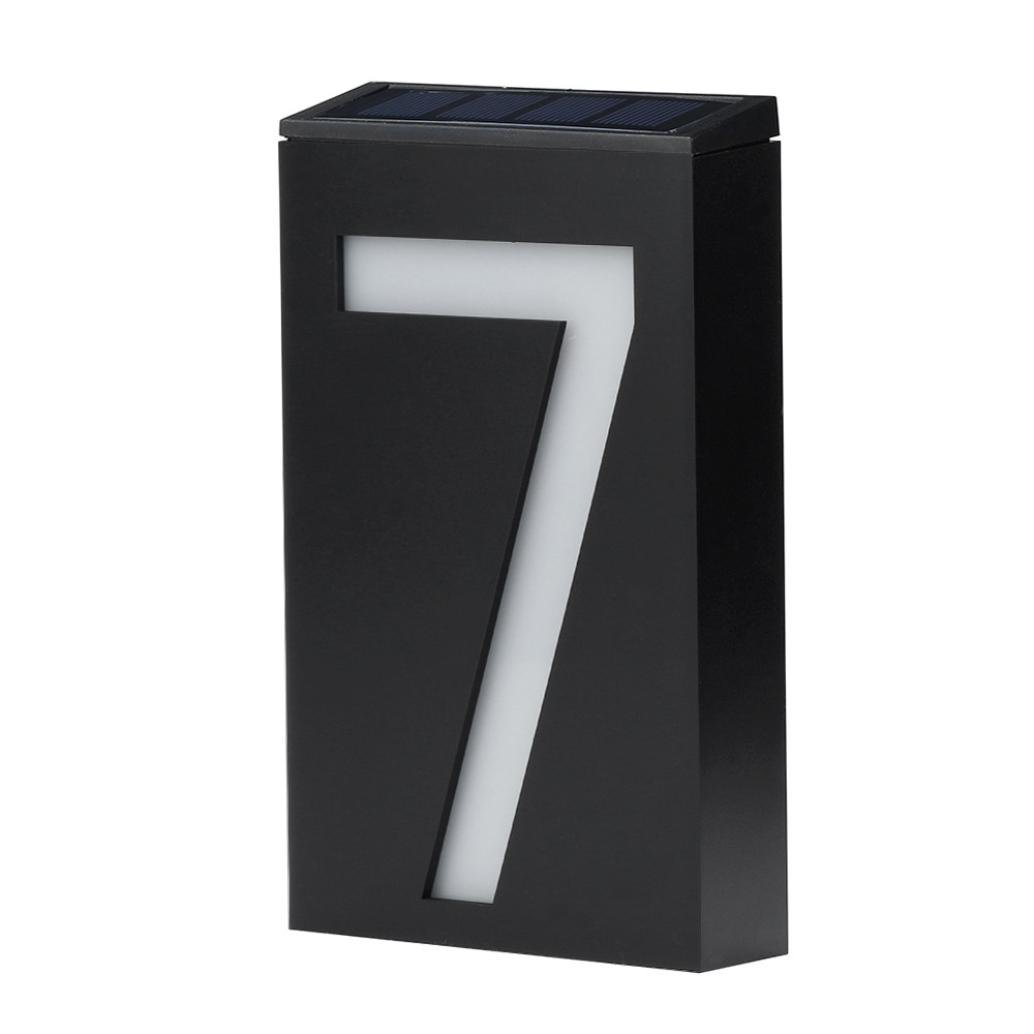 Allywit Solar Power LED Light Sign House Hotel Door Address Plaque Number Digits Plate (H)