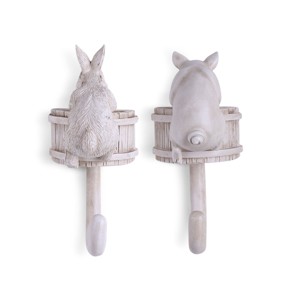 Coat Hooks-Vintage Nostalgic Resin Home Hat Key Hooks Single Wall Hook Hanger Rack Animal Shaped, Home Decor,Decorative Gift (Pig&Rabbit)