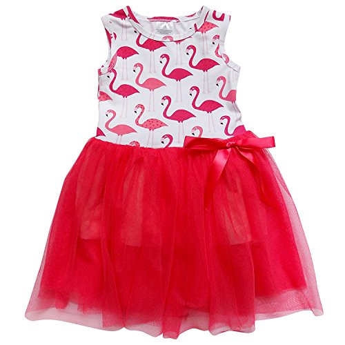 So Sydney Toddler Girls Tank Top Style Chiffon Tulle Layered Spring Summer Dress (XXXL (8), Flamingo Beauty)
