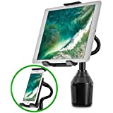 Car Cup Holder Mount for Phone Tablet, Okra 2-in-1 iPhone iPad Car Mount Adjustable Gooseneck Holder for all Smartphones and Tablets Universal