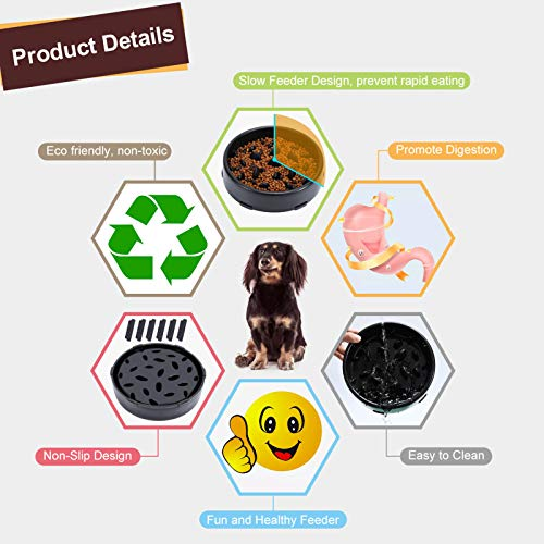 KASBAH Slow Feeder Dog Bowl, Anti-Gulping Maze Dog Food Bowl Bloat Stop Dog Food and Water Bowl Non-Toxic Pet Slower Food Feeding Dishes Anti-Choke Healthy Design Dog Bowl