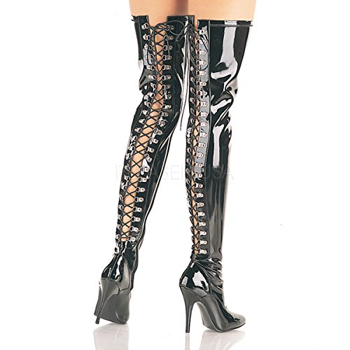 PLEASER Thigh High Boots Stretch Patent Ribbon Lace Up Back SEDUCE-3063 Black-9 (Lace Up Stretch Boot)