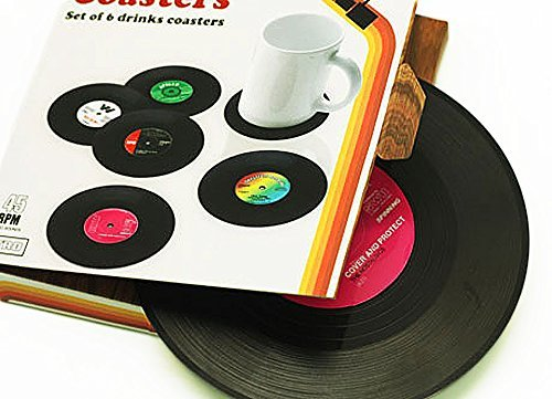 Janazala Vintage Vinyl Record Beverage Table Coasters For Drinks, Including Bottle Opener. For Wine Glasses, Beer, Whiskey, Cocktail, Hot and Cold Drinks, Set of 6