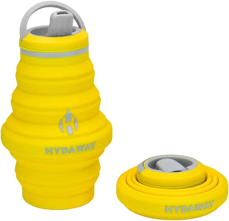 HYDAWAY Collapsible Water Bottle, 17oz Spout Lid | Ultra-Packable, Travel-Friendly, Food-Grade Silicone (Lightning)