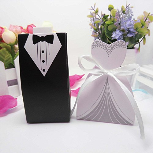 50 Pcs Laser Cut Candy Boxes Bags Bridal Groom Gift Cases Tuxedo Dress Gown Candy Box Wedding Favors And Gifts With Ribbon