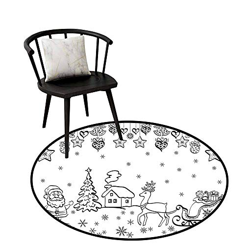 Distressed Style Circular Rug Christmas,Tree Ornaments with Santa Sleigh Rudolph Reindeer Toys Jingle Bells Image,Black and White,Circular Carpet Bedroom A Living Room Desk Seat Cushion Carpet 20