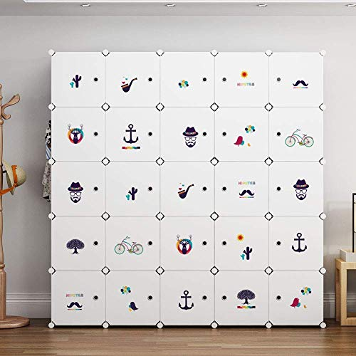 RMXMY Retro Mini Cartoon European Bedroom Plastic Decorative Cabinet Simple Modern Portable Wardrobe Hanger Storage Cabinet Temporary Furniture, White, 5 Hangers and 10 Cubes