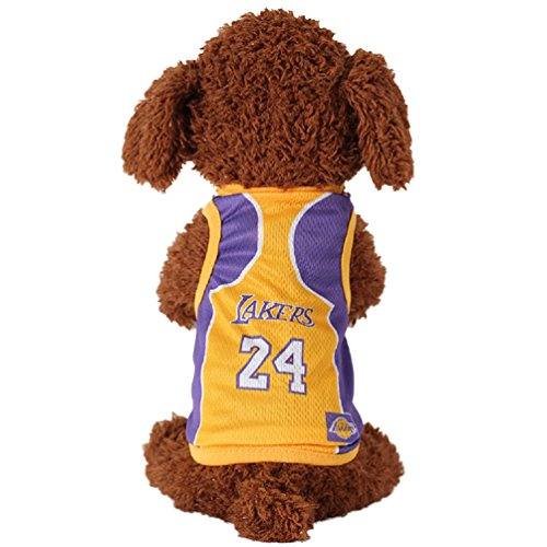 Pet Jersey KayMayn Football Licensed Dog Jersey, Comes in 6 Sizes,Dog Clothes Football T-shirt Dogs Costume National Soccer World Cup,Outdoor Sportswear Summer Breathable(L,Lakers)