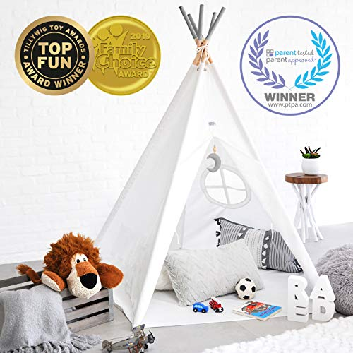 Hippococo Teepee Tent for Kids: Large Sturdy Quality 5 Poles Play House Foldable Indoor Outdoor Tipi Tents, True White Canvas, Floor Mat, Grey Moon Accessory, Family Fun Crafts eBook Included (Grey) by Hippococo (Image #7)
