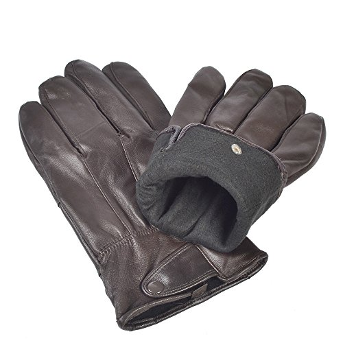 Reed Men's Genuine Leather Warm Lined Driving Gloves (L, Brown)