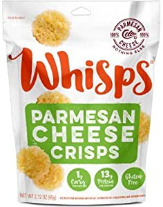 Whisps Parmesan Cheese Crisps | Keto Snack, No Gluten, No Sugar, Low Carb, High Protein | 2.12oz (6 Pack)