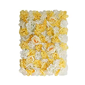 BalsaCircle 4 pcs White Champagne Assorted Silk Flowers Wall Backdrop Panels - Wedding Party Vertical Garden Wall Hedge Decorations Supplies 1