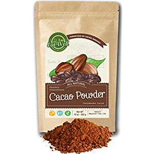 Raw Cacao Powder Organic | 16 oz Reseable Bag , Bulk | Unsweetened Cocoa Powder | % 100 Pure Cacao Powder | Dutch Process Cocoa Powder | by Eat Well Premium Foods